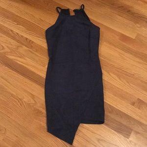 Mystique Boutique: Suede Navy Asymmetrical Dress
